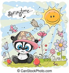 Cute Cartoon Panda on the meadow