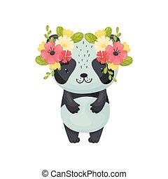 Cute cartoon panda. Vector illustration on white background.