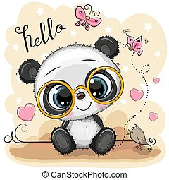 Cartoon Panda with glasses on a yellow background