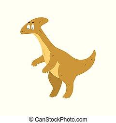 Cute cartoon parasaurolophus dinosaur, prehistoric dino character vector Illustration on a white background