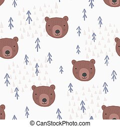 Cute cartoon pattern with bears and trees
