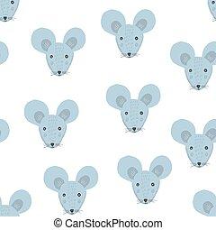 Cute cartoon pattern with blue mice heads