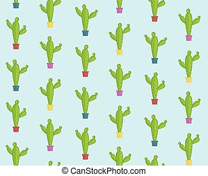 Cute cartoon pattern with colorful cacti