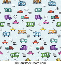 Cute cartoon pattern with colorful city transport