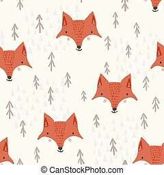 Cute cartoon pattern with foxes and trees