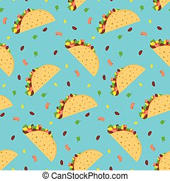Cute cartoon pattern with mexican tacos