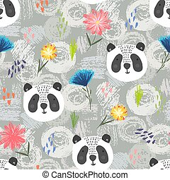 Cute cartoon pattern with panda, dots and flowers