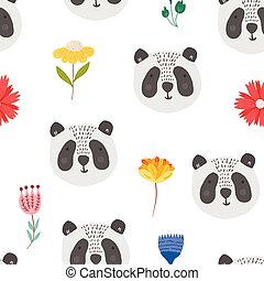 Cute cartoon pattern with panda heads and flowers