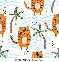 Cute cartoon pattern with tigers, palms, waves