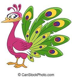 cute cartoon peacock - cute queenly and gorgeous cartoon...