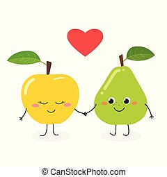 Cute cartoon pear and apple
