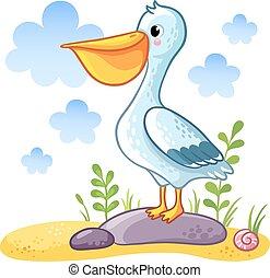 Cute cartoon Pelican.