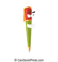 Cute cartoon pen comic character, humanized colorful pen with funny face vector Illustration