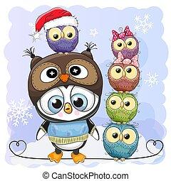 Cute Cartoon Penguin and five Owls