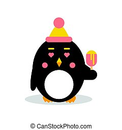 Cute cartoon penguin character wearing hat and eating ice cream, funny bird in geometric shape vector Illustration