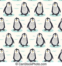 Cute cartoon penguin chick vector illustration. Seamless repeating pattern .