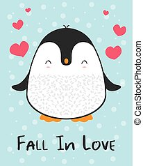 Cute cartoon penguin greeting card Fall in love for Merry Christmas and New Year?s celebration under stars and snow with hearts and love vector illustration.