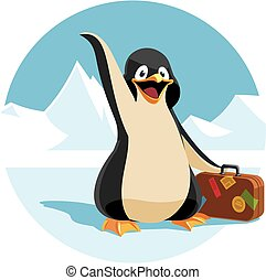 cute cartoon penguin holding a suitcase