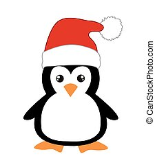 Cute cartoon penguin on white background