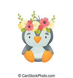 Cute cartoon penguin. Vector illustration on white background.