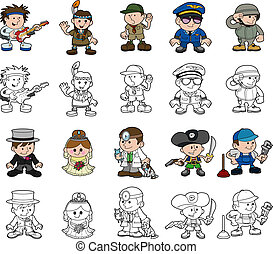 Cute cartoon people set - A set of cartoon people or...