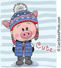 Cute Cartoon Pig boy in a hat and coat