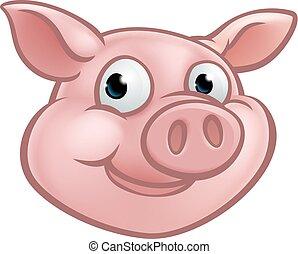 Cute Cartoon Pig Character Mascot