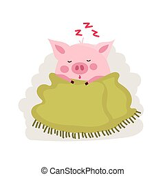 Cute cartoon pig covered by blanket isolated on white