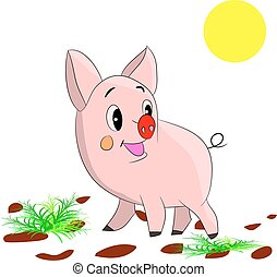 Cute cartoon pig on a white background.