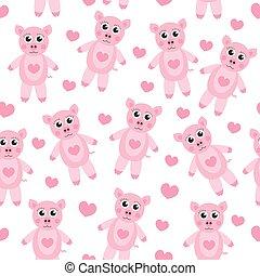 Cute cartoon pig puppy seamless texture. Children s background fabric. Vector illustration
