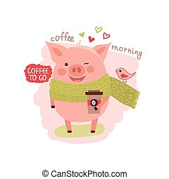 Cute cartoon pig wearing in scarf with the cup of coffee