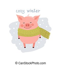 Cute cartoon pig wearing in the scarf isolated on white