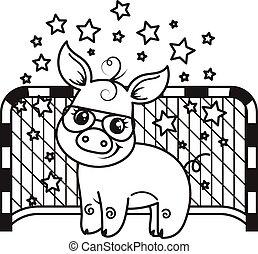 Cute cartoon pig with a soccer ball. Vector illustration.