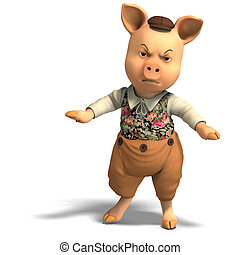 3D rendering of a cute cartoon pig with clipping path and shadow over white