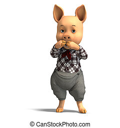 cute cartoon pig with clothes - 3D rendering of a cute...