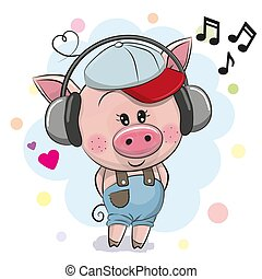 Cute cartoon Pig with headphones