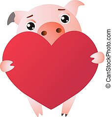 Cute cartoon pig with red large heart