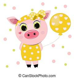 Cute Cartoon Piggy Girl with balloon
