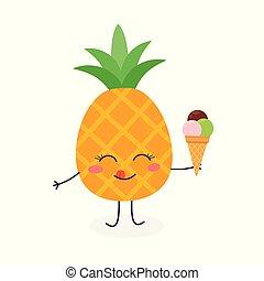 Cute cartoon pineapple with ice cream