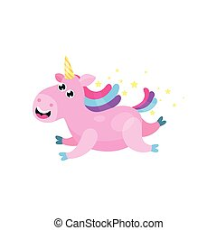 Cute cartoon pink magic unicorn with multicolored mane...