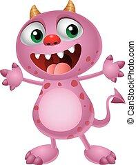 Cute cartoon pink monster