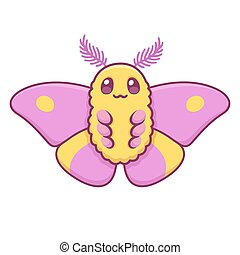 Cute cartoon Rosy Maple moth vector illustration. Funny pink butterfly drawing.