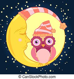 Cute cartoon pink owl in the bell for sleep sitting dormant on the crescent against the night sky with stars