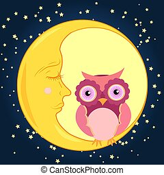 Cute cartoon pink owl sits on the slumbering crescent moon in the night sky with stars