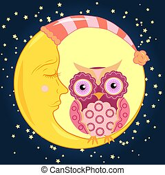 Cute cartoon pink owl with a circular pattern on the wings and the body sits on the slumbering crescent moon in the night sky with stars