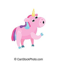 Cute cartoon pink unicorn with multicolored mane vector Illustration