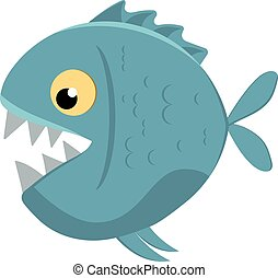 Cute cartoon piranha with sharp teeth. Vector illustration