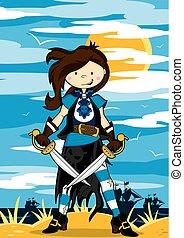 Cute Cartoon Pirate Girl