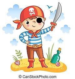 Cute cartoon pirate.