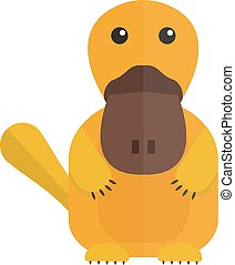 Cute cartoon platypus australia wildlife mammal animal flat vector illustration.